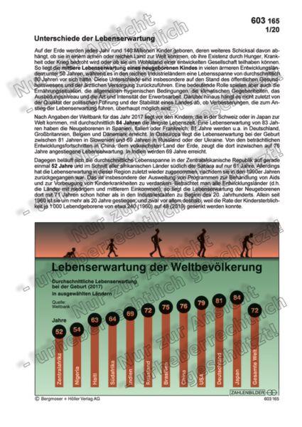 Lebenserwartung der Weltbevölkerung