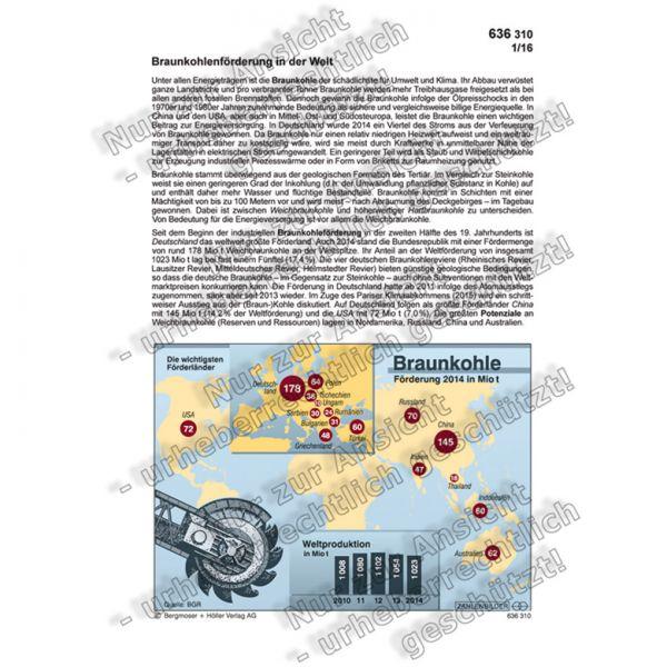 Braunkohlenförderung in der Welt